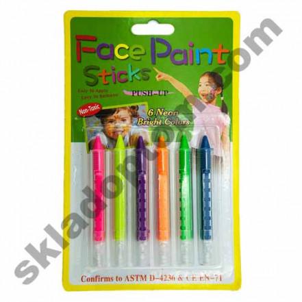 Грим карандаши Неоновые (6 цветов)