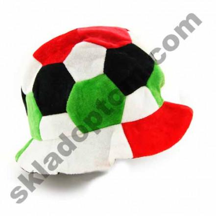 Шапка Футбольный мяч велюр (красно-зеленая)