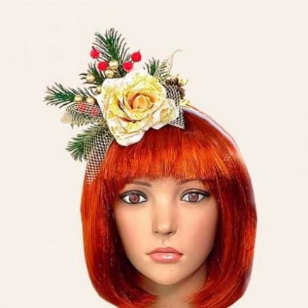Аксессуар на ободке Новогодняя роза 10401