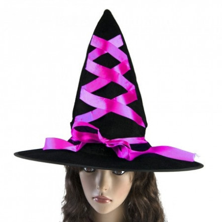 Шляпа Ведьмы с лентой розовой