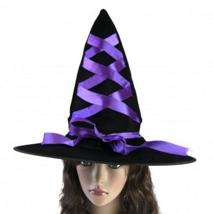 Шляпа Ведьмы с лентой фиолетовой