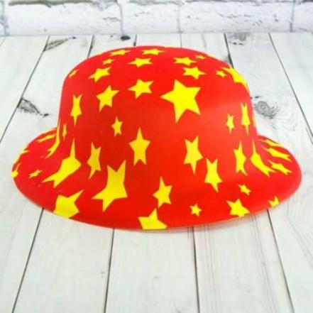 Шляпа детская Котелок пластик с принтом Звездочки