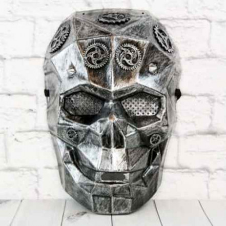 Маска Киборг череп стимпанк (серебро)
