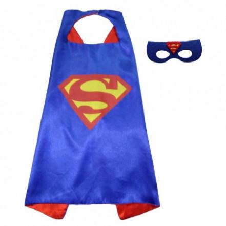 Маскарадный плащ с маской Супермен (синий)
