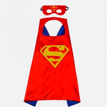Маскарадный плащ с маской Супермен (красный)