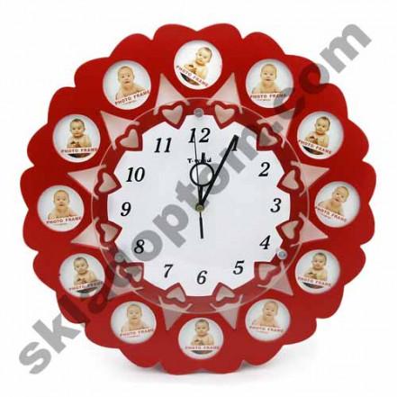 Мультирамка Часы 12 сердечек