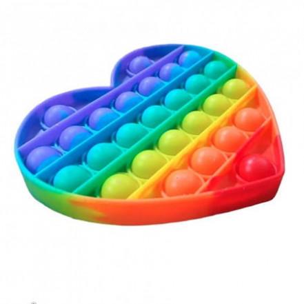Антистресс игрушка Pop It Сердце радуга