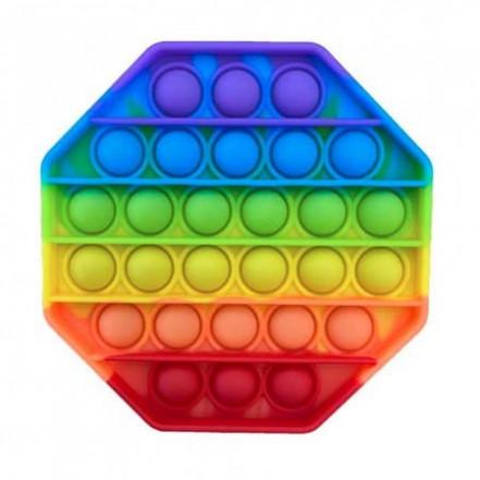 Антистресс игрушка Pop It 12см 8-угольник радуга