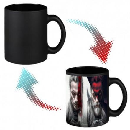 Чашка хамелеон 66004 Ведьмак Геральт (черная)