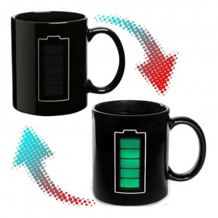 Чашка хамелеон Батарейка (черная)