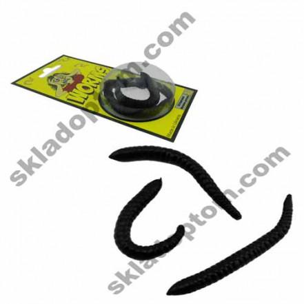 Червяк силиконовый черный (уп. 3шт)