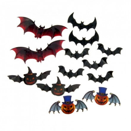 Декор настенный Летучие мыши Хэллоуин (уп. 12 штук)