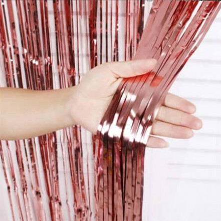 Шторка для фотозоны 1х2м розовое золото (дождик)