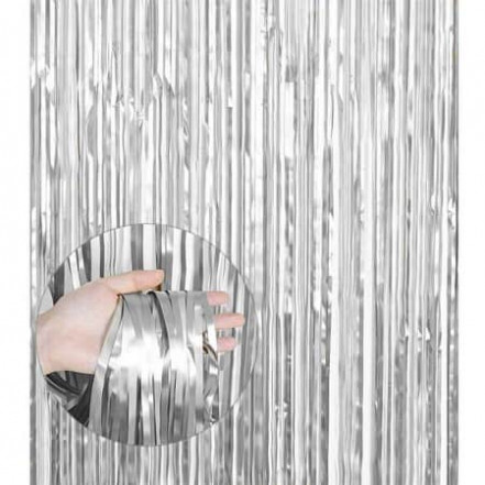 Шторка для фотозоны матовая 1х2м серебро (дождик)