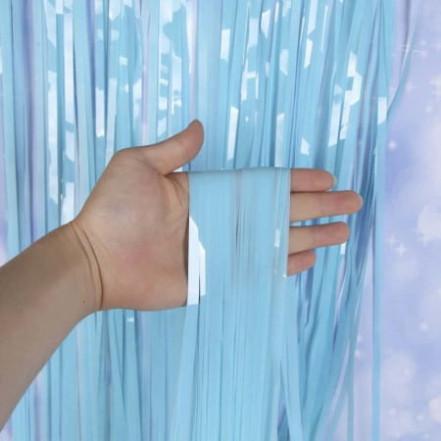 Шторка для фотозоны матовая 1х2м голубая (дождик)