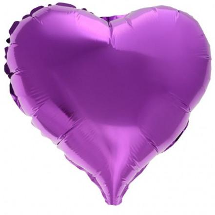 Шарик (45см) Сердечко фиолетовое матовое