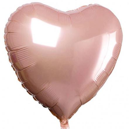 Шарик (45см) Сердечко розовое золото