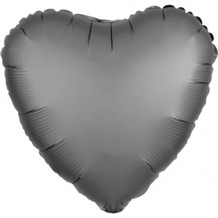 Шарик (45см) Сердечко серое матовое