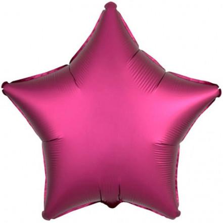 Шарик (45см) Звезда малиновая матовая