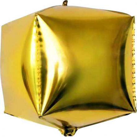 Шар фольгированный 4D куб золото