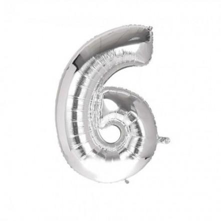 Шарик Цифра серебро (80см) 6