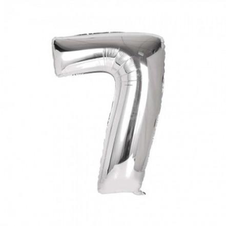 Шарик Цифра серебро (80см) 7