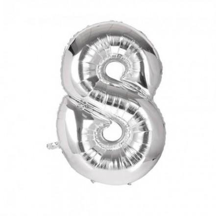 Шарик Цифра серебро (80см) 8