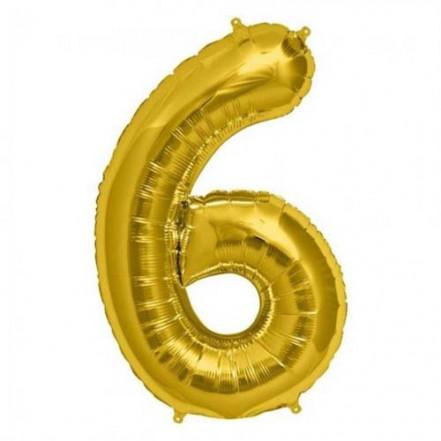 Шарик Цифра золото (80см) 6