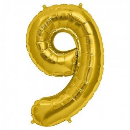 Шарик Цифра золото (80см) 9