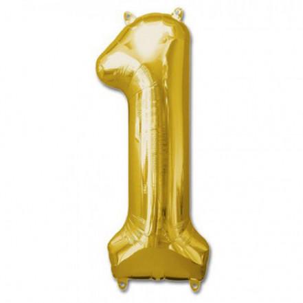 Шарик Цифра золото (100см) 1