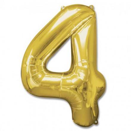 Шарик Цифра золото (100см) 4
