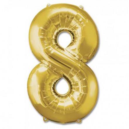 Шарик Цифра золото (100см) 8