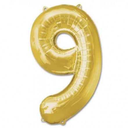 Шарик Цифра золото (100см) 9