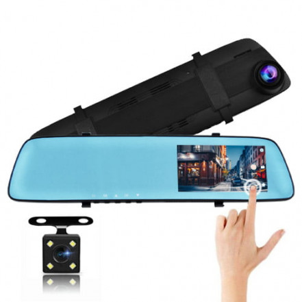 """Автомобильный видеорегистратор-зеркало L-9003, 4,3"""", TOUCH SCREEN, 2 камеры,1080P Full HD"""