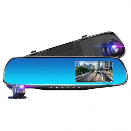 Автомобильный видеорегистратор-зеркало L-9004, LCD 3.5'', 2 камеры, 1080P Full HD
