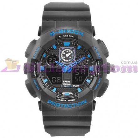 Часы наручные G-SHOCK GA-100 Black-Blue, BOX, подсветка 7 цветов