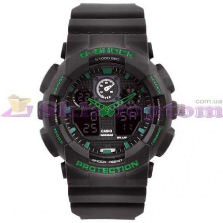 Часы наручные G-SHOCK GA-100 Black-Green, подсветка 7 цветов