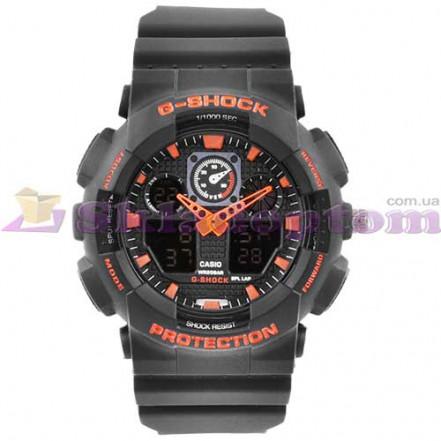 Часы наручные G-SHOCK GA-100 Black-Orange, BOX, подсветка 7 цветов