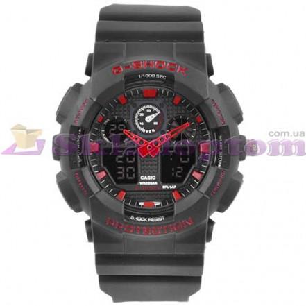 Часы наручные G-SHOCK GA-100 Black-Red, BOX, подсветка 7 цветов