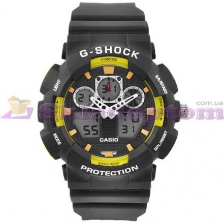 Часы наручные G-SHOCK GA-100B Black-Yellow, подсветка 7 цветов