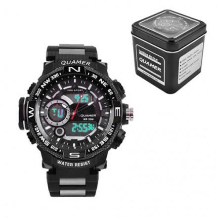 Часы наручные QUAMER 1730, Box, браслет карбон, dual time, waterproof
