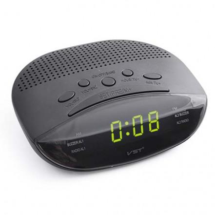 Часы сетевые VST-908-2 зеленые, радио FM, 220V