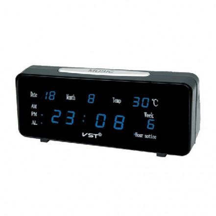 Часы сетевые VST-763 WX-5 синие настенные, 220V