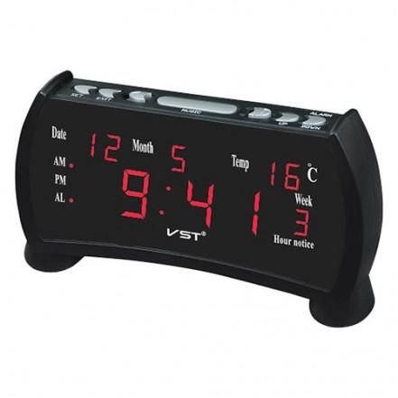 Часы сетевые VST-761WX-1, красные, температура, 220V
