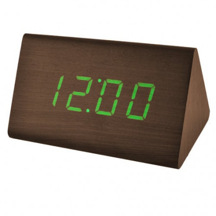 Часы сетевые VST-868-4 зеленые, (корпус коричневый) USB
