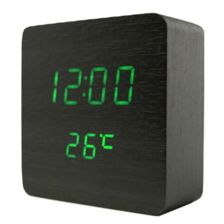 Часы сетевые VST-872-4, зеленые, (корпус черный) температура, USB