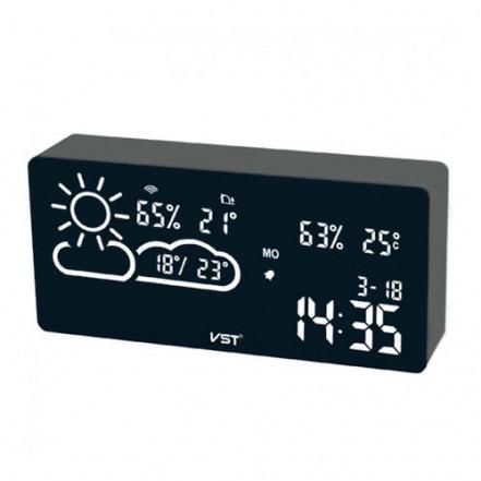 Часы сетевые VST-882-6, белые, температура, влажность, WI-FI, USB