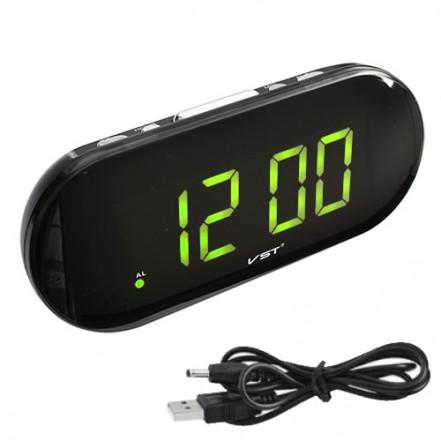 Часы сетевые VST-717-2 зеленые, USB