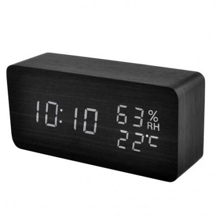 Часы сетевые VST-862S-6 белые, (корпус черный) температура, влажность, USB