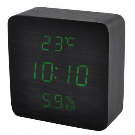 Часы сетевые VST-872S-4 зеленые, (корпус черный) температура, влажность, USB